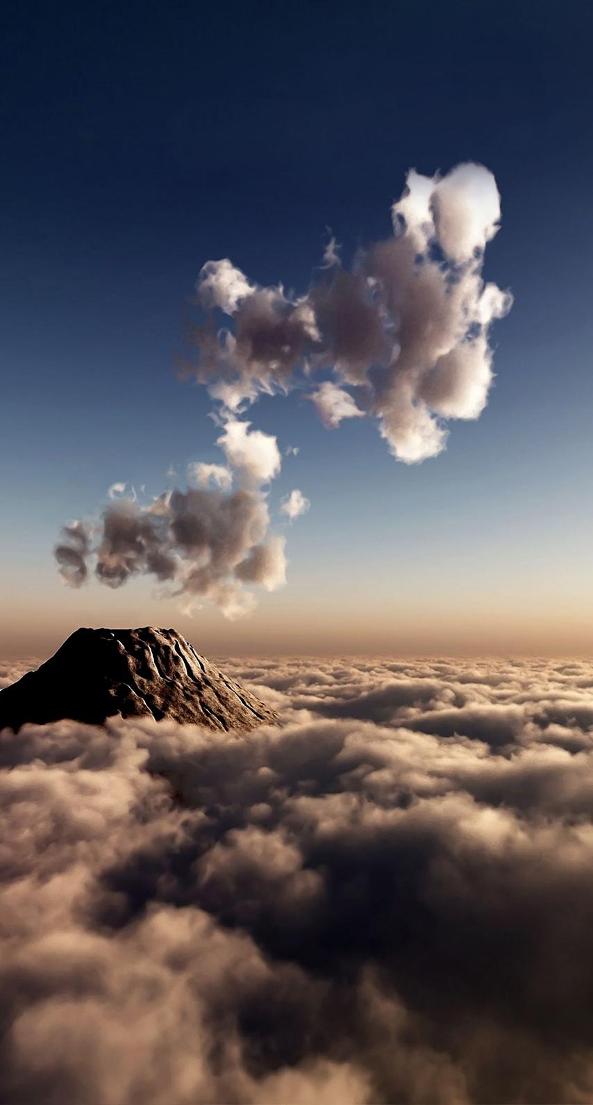 volcano, computer wallpaper, atmosphere of earth, calm, sunlight, meteorological phenomenon, daytime, cumulus