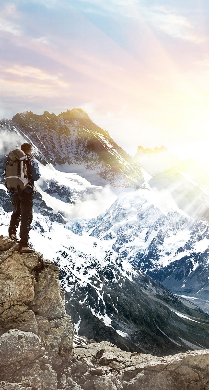 sunset, light, smoke, fantasy, ice, mountain, no person, outdoors, high, cold, mountain peak