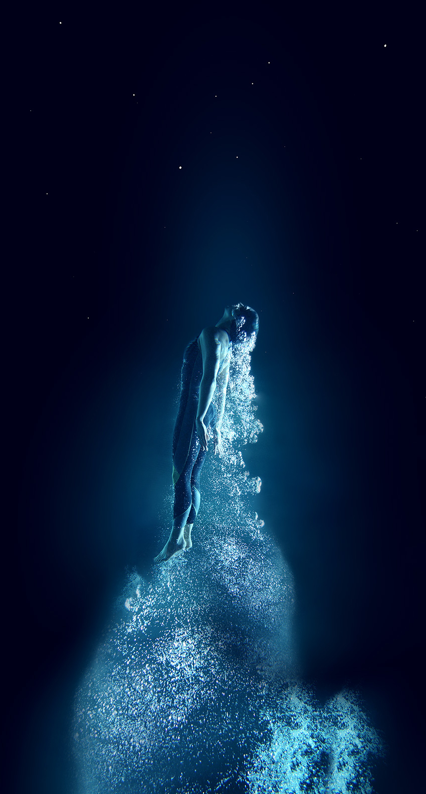 sky, dark, beautiful, moon, swimmer, girl, ice
