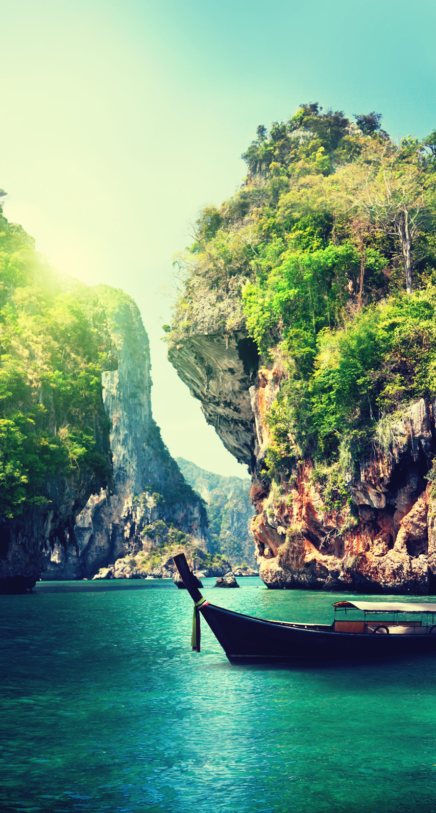wood, river, turquoise, rock, tree, cliff, bay, tropical, summer, exotic, paradise, boat, no person