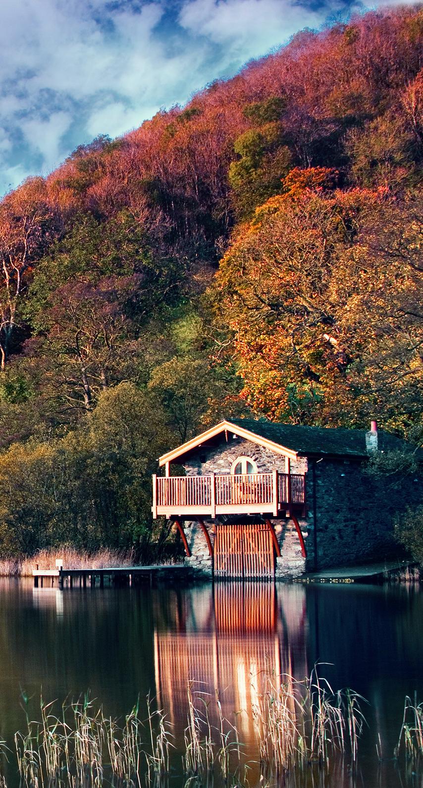 water, sky, wood, lake, river