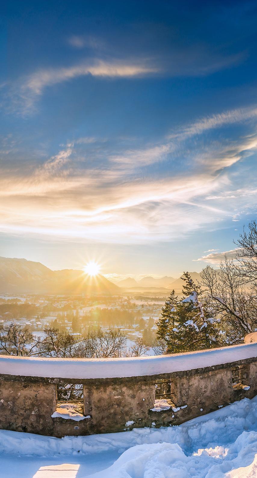 snow, sunset