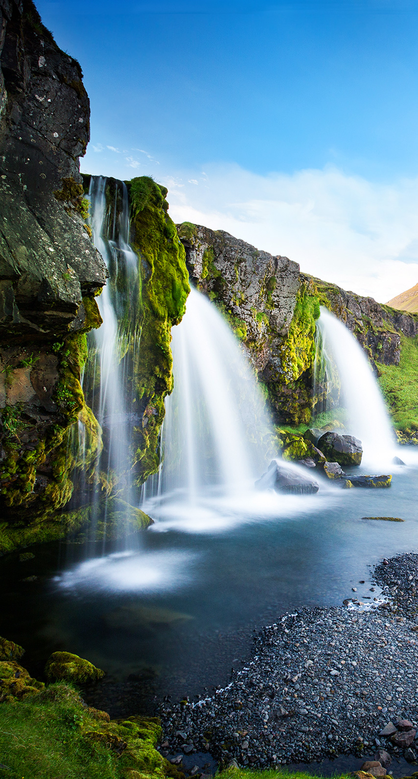 sunset, rock, tree, valley, summer, waterfall, coffee, mountain, no person, outdoors, scenic, stream