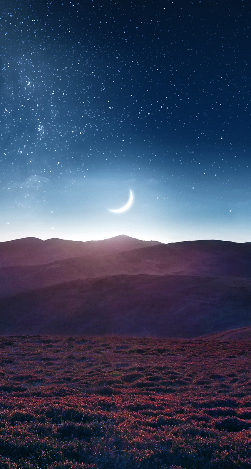 sky, night, moon, sunset, galaxy, field, mountain