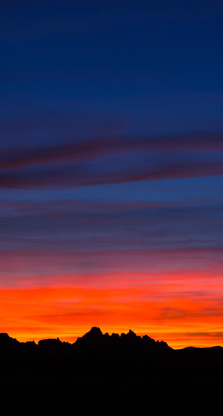 mountains, sunset