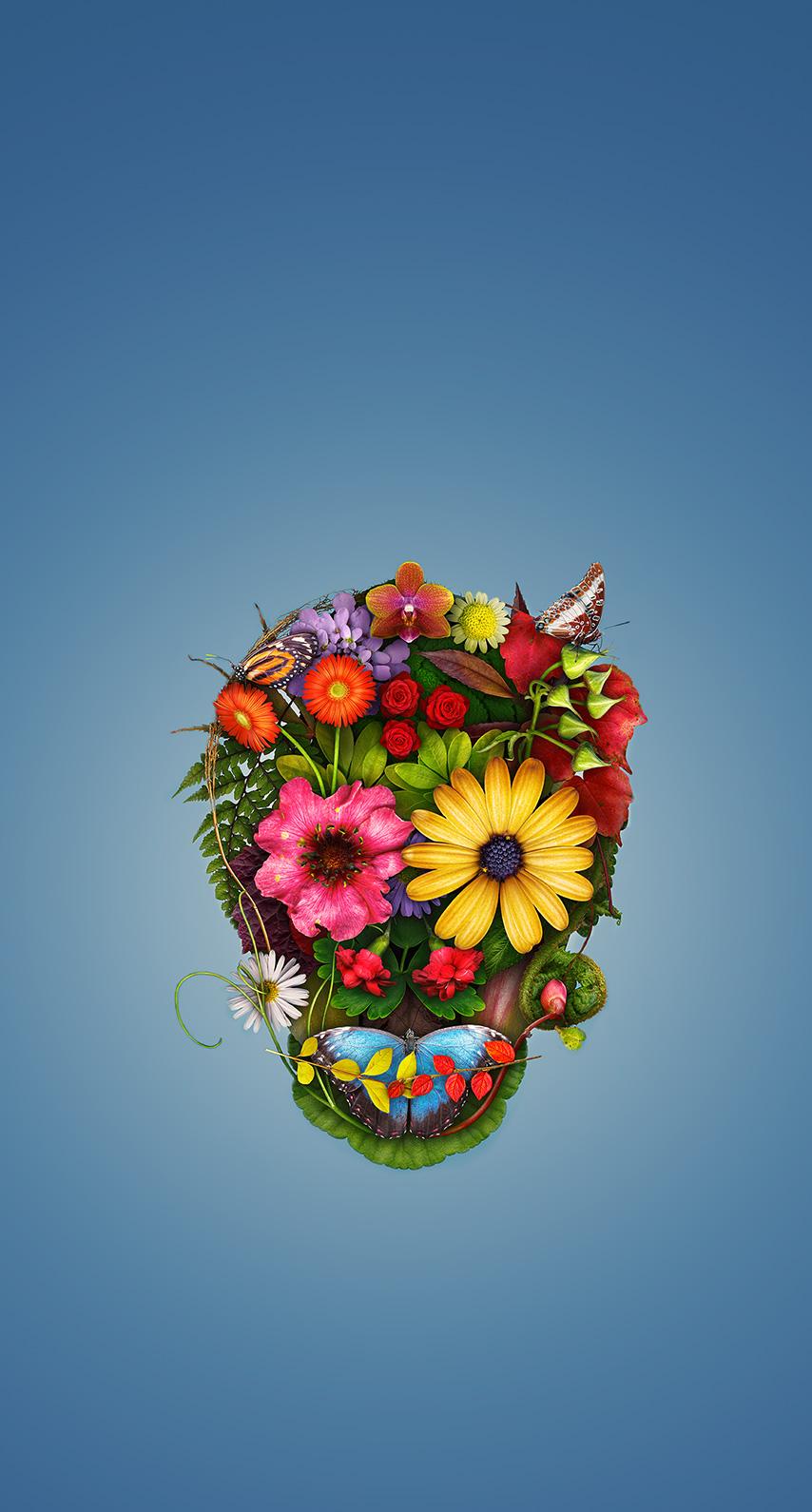 skull, flower