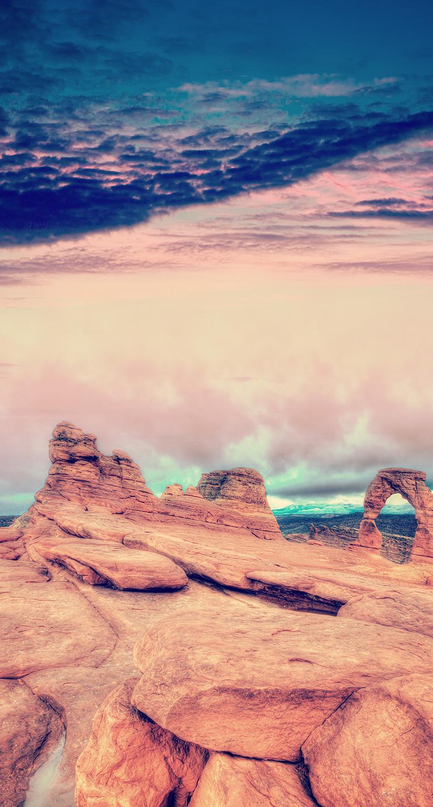 sunset, rock