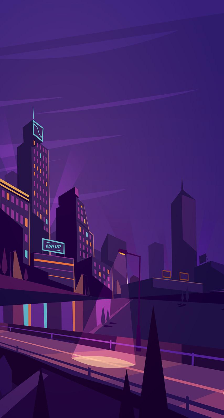 illuminated, downtown